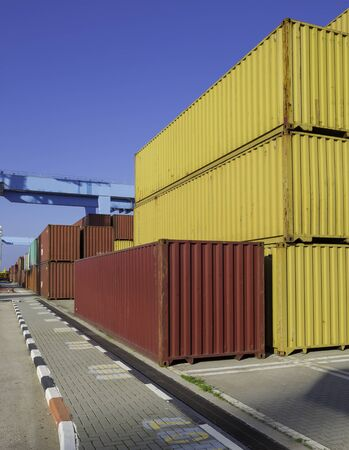Cargo freight shipping containers at the docks � storage area in the sea port photo