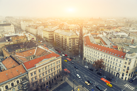 cenital: Vista aérea sobre Budapest En invierno, Hungría - visión desde la basílica de San Esteban Foto de archivo