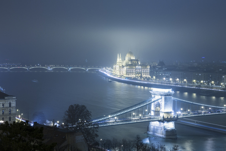 chain bridge: Budapest At Night, Hungary, View On The Chain Bridge and the Parliament