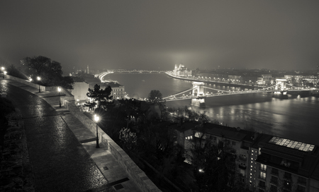 the chain bridge: Budapest At Night, Hungary, View On The Chain Bridge and the Parliament