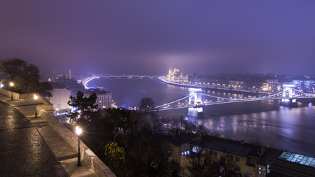 illuminated: Budapest At Night, Hungary, View On The Chain Bridge and the Parliament