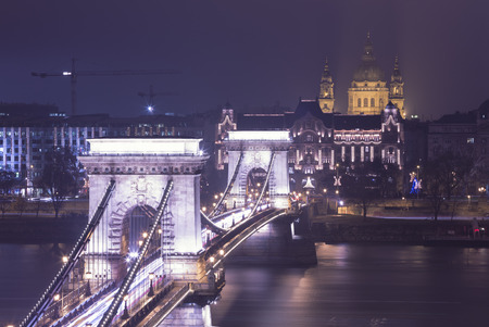 heritage site: Budapest At Night, Hungary, View On The Chain Bridge and the St. Stephens Basilica