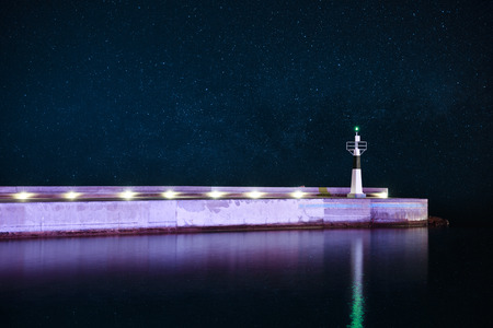 starry night: Lighthouse at starry night Stock Photo