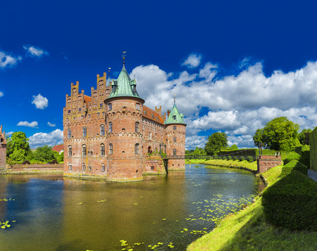 Egeskov Castle, located in the south of the island of Funen, Denmark.