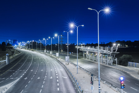 yom kipur: Empty freeway at night - Blue Color Toned