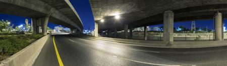 yom kipur: Empty freeway at night - Panoramic shot