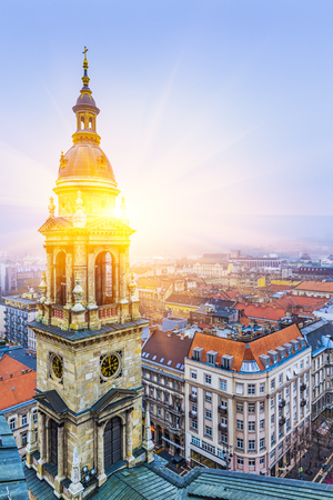 Sunrise Over Budapest At Winter, View From St. Stephen's Basilica Roof, Budapest, Hungary , Hungary