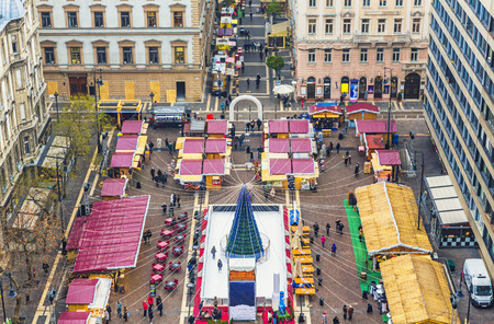 Christmas market in St. Stephen's Basilica Square, Budapest, Hungary Editorial