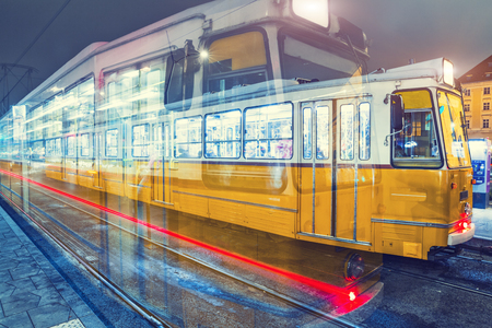 Old Tram At Central Stations in Budapest, Hungary. Standard-Bild