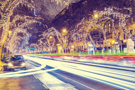 Christmas Light In Central Street in Budapest, Hungary