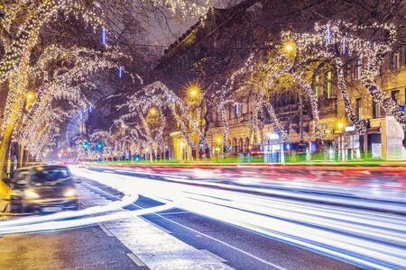 Christmas Light Central Street in Budapest, Hungary
