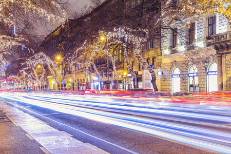 Christmas Ornament Light On Central Street in Budapest, Hungary