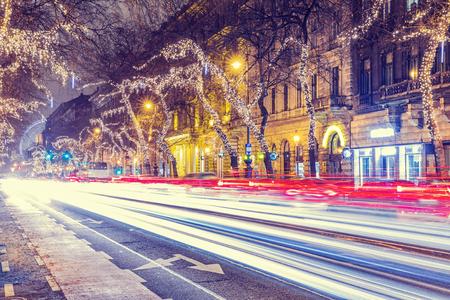 Christmas Light in Central Street, Budapest, Hungary