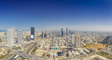 Panoramic Shot Of Tel Aviv and Ramat Gan Skyline At Day.  Tel Aviv Cityscape Aerial View
