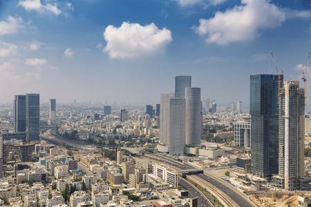 Tel Aviv Skyline at Sunny Summer Day  / Tel Aviv Cityscape In Daylight, New Skyscraper Constraction Site and Aylon Freeway.