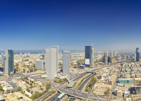 Panoramic Shot Of Tel Aviv and Ramat Gan Skyline At Day.  Tel Aviv Cityscape Aerial View