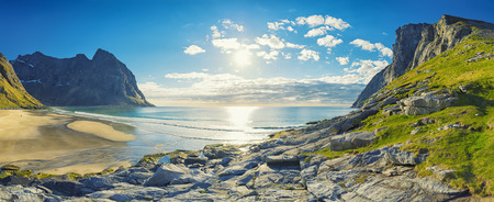 Panorama Of Kvalvika Beach on the Lofoten Islands, Norway
