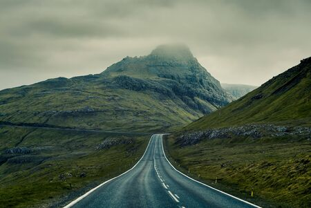 A long straight Country Road, Faroe Islands