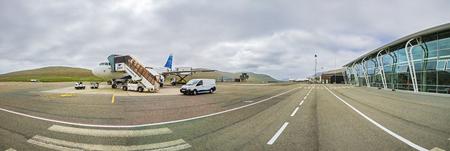 Faroe Islands -JUNE 2018:  Airplane Of Atlantic Airways At The Faroe Airport,  Waiting for the flight. Standard-Bild - 105374100