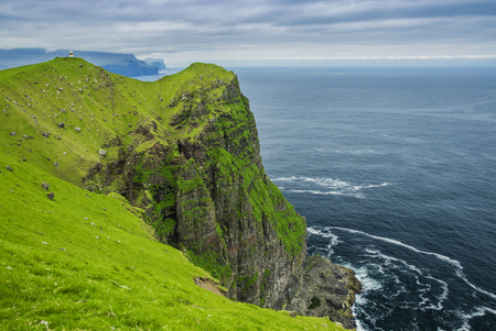 Shot Of Beautiful Panoramic Scene, Kalsoy Island and Kallur lighthouse, Faroe Islands