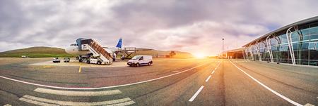 Faroe Islands -JUNE 2018:  Airplane Of Atlantic Airways At The Faroe Airport,  Waiting for the flight. Standard-Bild - 105374102