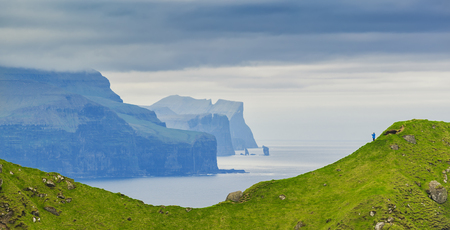 Panoramic Shot Of Beautiful Panoramic Scene,  Mountain and Atlantic Ocean, Kalsoy Island , Faroe Islands