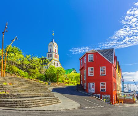 Torshawn city - the capital of The Faroe Islands, Denmark. Standard-Bild - 105374096