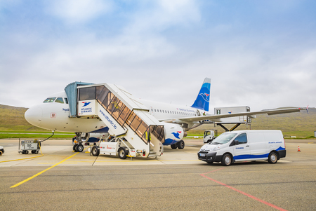 Faroe Islands -JUNE 2018:  Airplane Of Atlantic Airways  At The Faroe Airport,  Waiting for the flight. Editorial