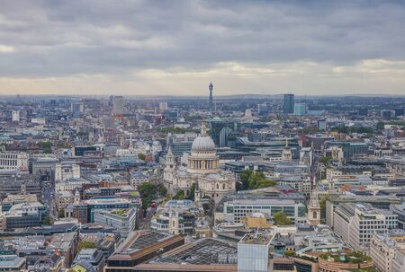 London Aerial View, City Center - View on St Paul's Cathedral in  Sunset, London, UK