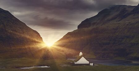 Lutheran Church At Sunrise in Saksun village, Located On The Faroe Islands, Denmark