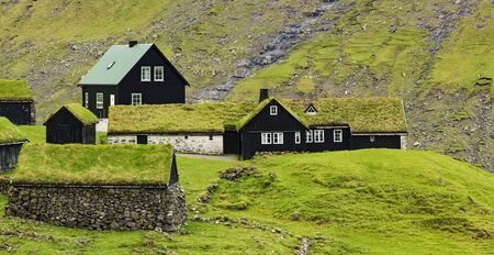 Old Saksun village, With  traditional Scandinavian type of green roof,  Located On The Faroe Islands, Denmark