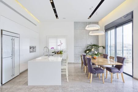 Modern Design Luxury Kitchen With Marble Island And Dinner Table