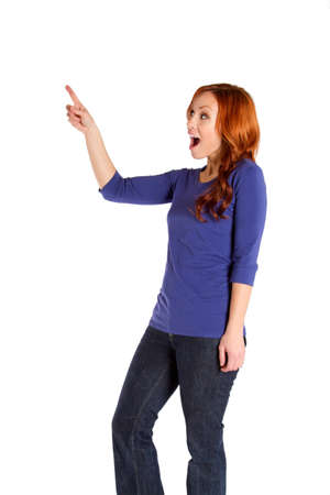 A woman looking surprised and pointing.
