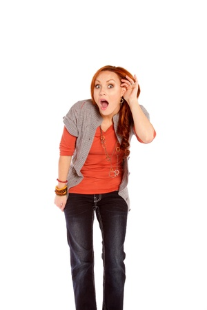 A woman listening showing shock and disbelief. Zdjęcie Seryjne