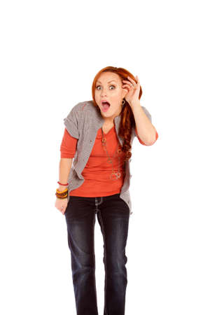 disbelief: A woman listening showing shock and disbelief. Stock Photo