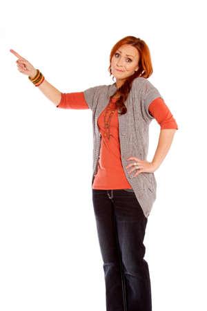 A perplexed woman pointing Zdjęcie Seryjne