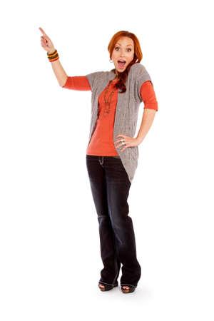 A red headed woman pointing Zdjęcie Seryjne