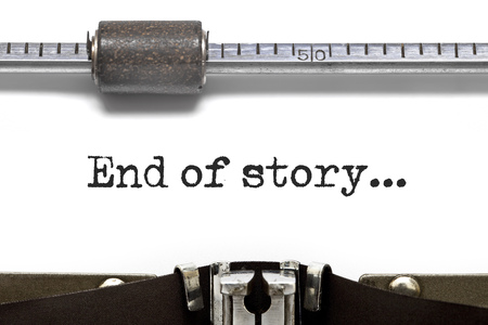 narrate: End of story text on Typewriter Stock Photo
