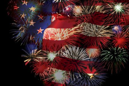 verenigde staten vlag: Vuurwerk over Waved Verenigde Staten vlag