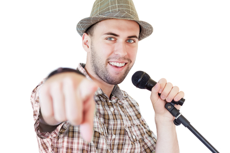 lyrical dance: Young Artist Recording an Album in Studio and Pointig with Finger at Camera Stock Photo