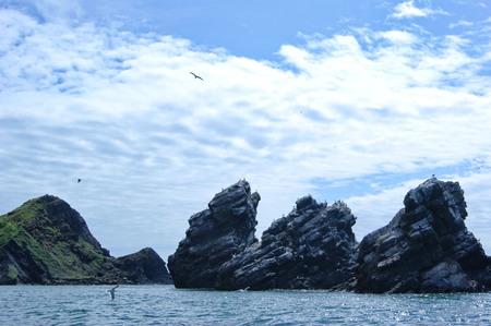 briny: Three rocks in the Sea of Okhotsk Stock Photo