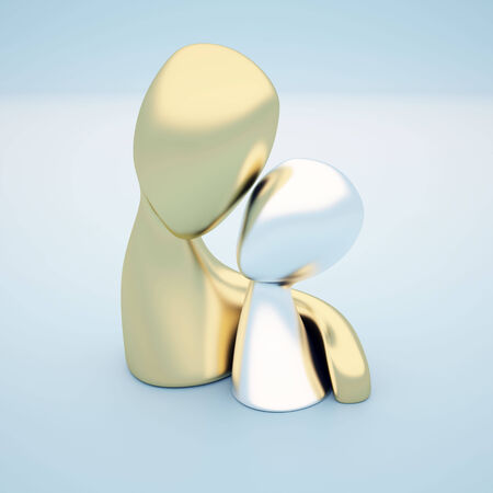 3d model of two figures caring about each other Stock Photo - 24846023