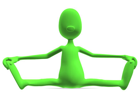 3d model athletic man sitting and looking at the camera, showing their stretching photo