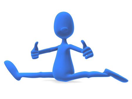 3d model athletic man sitting and looking at the camera, showing their stretching and holding his thumb up photo
