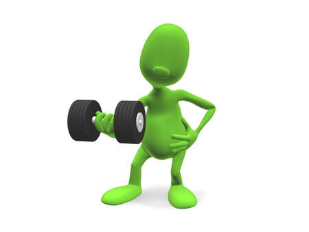 3d model athlete standing and lifts the dumbbell hand, looking into the camera photo