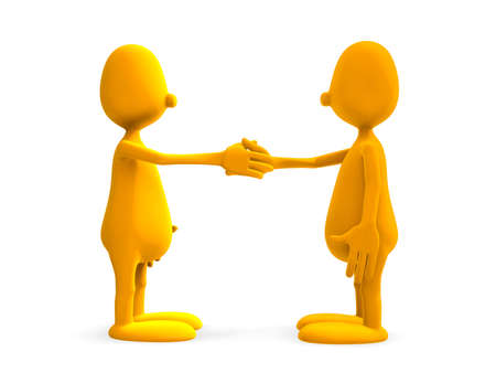 two 3d model man standing and shake hands photo