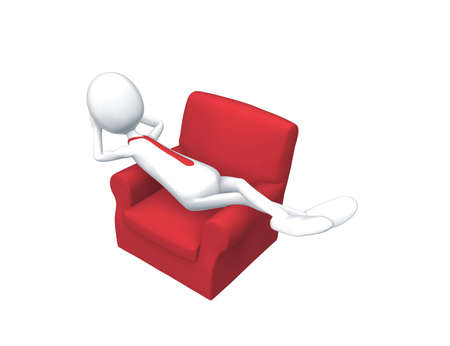 lay down: Man lay down in an armchair to relax after a busy day. Stock Photo