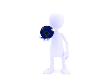 3D model of a man holding the earth in his hand. Stock Photo