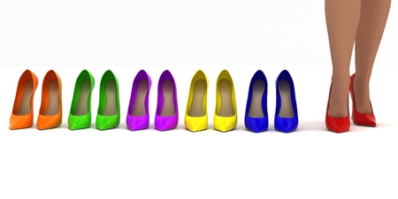 3D model of a set of multiple pairs of high heels in different color variations and sexy legs girls trying on red shoes. photo