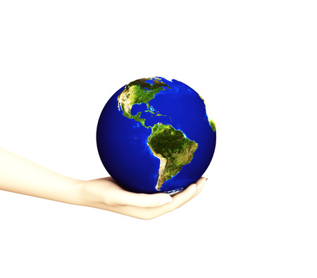 3D model of female hand holding the earth in the palm photo